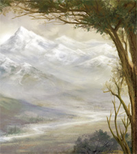 Mountains w/tree; Artist Sarah Adams