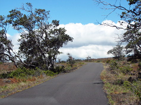 From Chain-of-Craters Road it's a nine-mile drive on Hilina Pali Road to the trailhead. The road is one lane, but it's paved, and at the time we went it was in excellent condition.