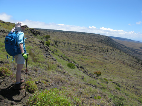 This is me, shortly after the start of our hike, near the top of the Hilina Pali Trail. Photo by Ronald J. Nagata