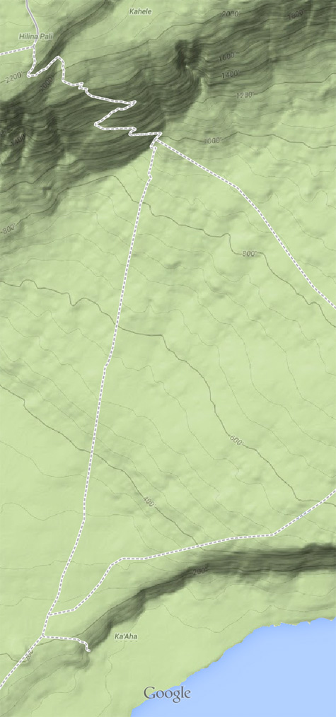 This trail's two steep drops are easy to see on Google's terrain map.