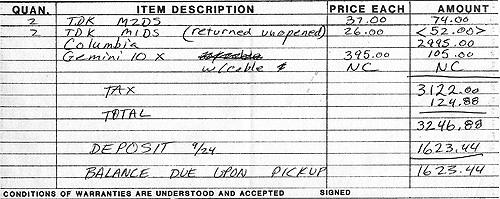Columbia computer invoice